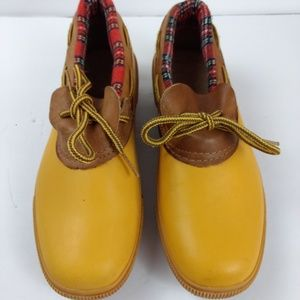 Land's End Low Ankle Duck Boot Mustard Yellow Sz 8